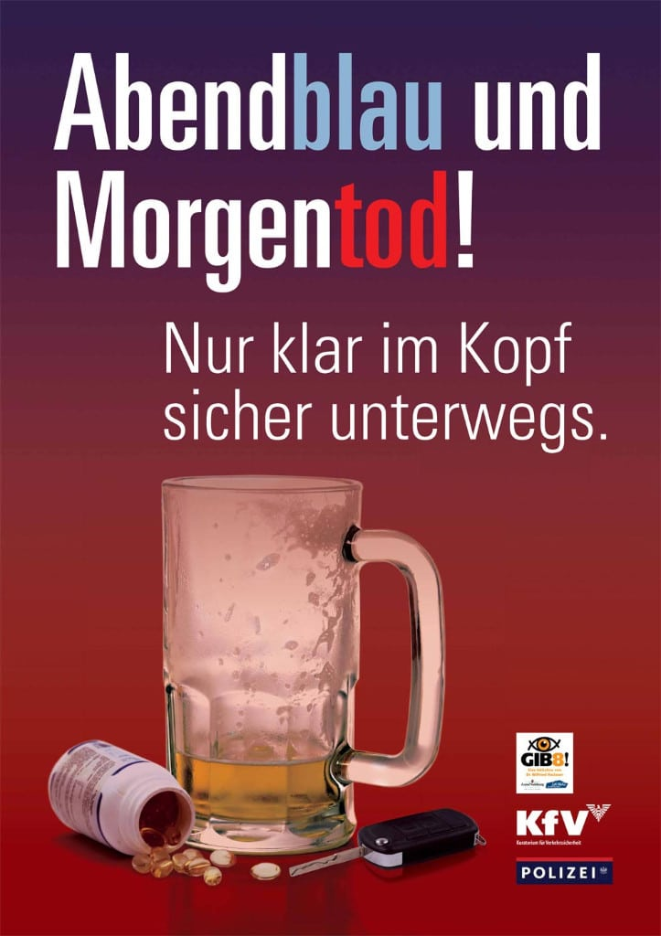 """Verkehrssicherheitskampagne des Landes Salzburg 2009: Plakat """"Abendblau und Morgentod"""""""