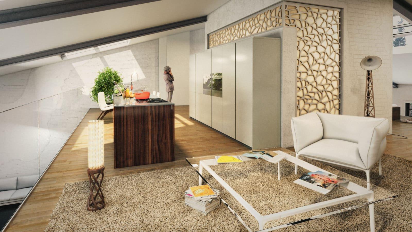 Architekturvisualisierung Interieur, Umbau Industrieobjekt