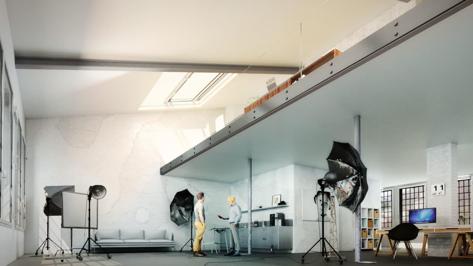 Architekturvisualisierung Interieur, Umbau Industrieobjekt 4