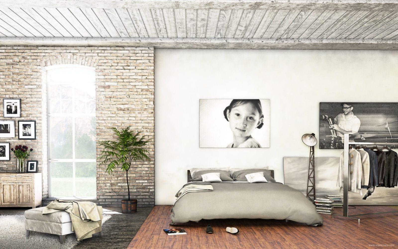 Visualisierung Loft Schlafzimmer