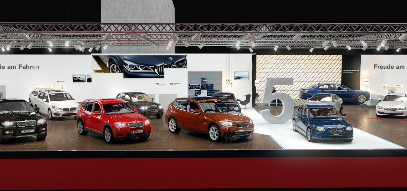Visualisierung BMW Stand Vienna Autoshow 2017 Zentralansicht