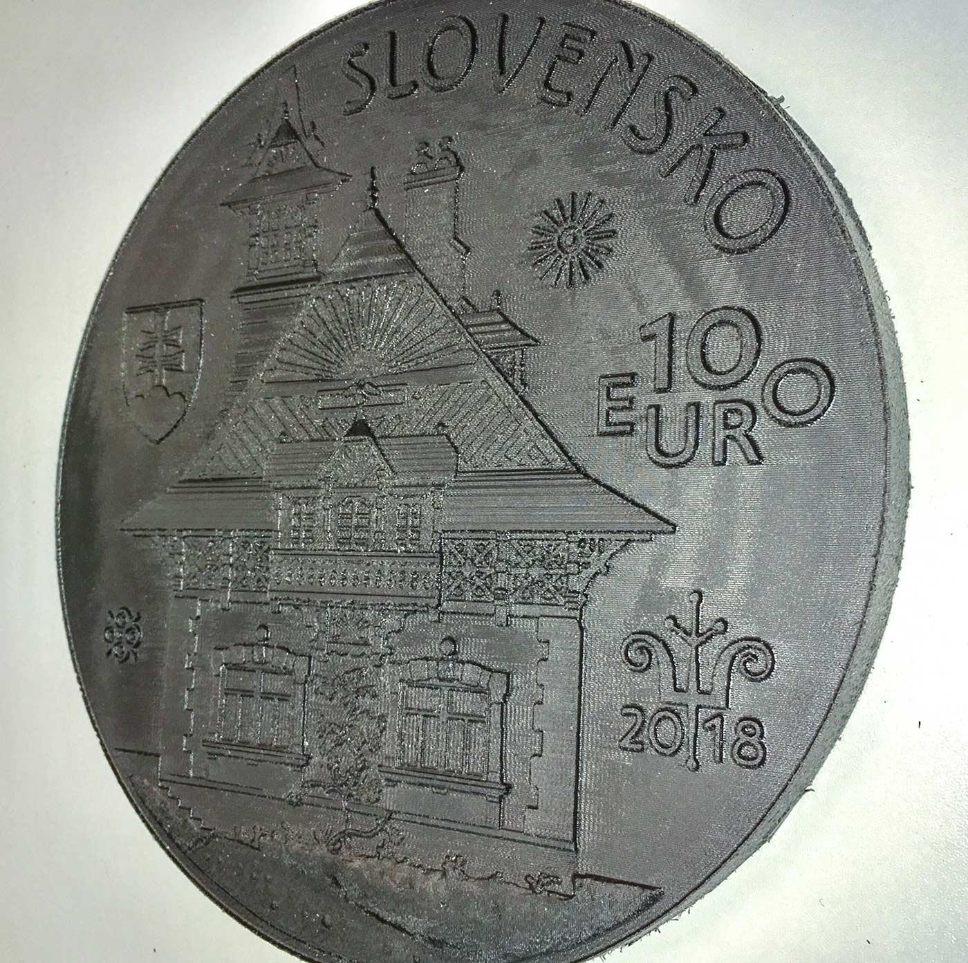 Gefräste Gussvorlage für eine Münze