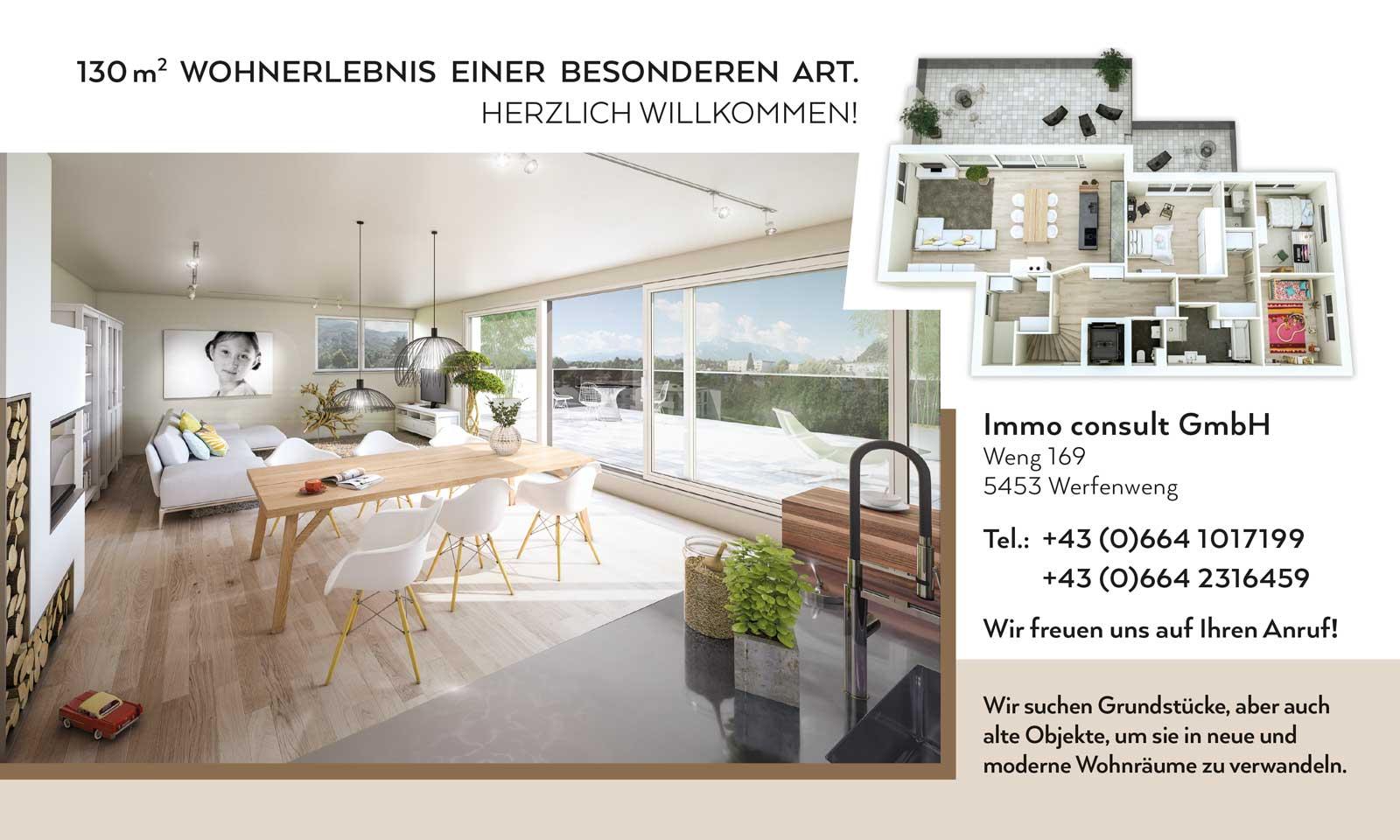 Bauzaunplakat für Immo consult GmbH