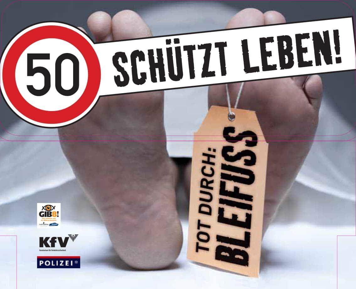 """Verkehrssicherheitskampagne des Landes Salzburg 2010: Buskleber """"50 schützt Leben"""""""