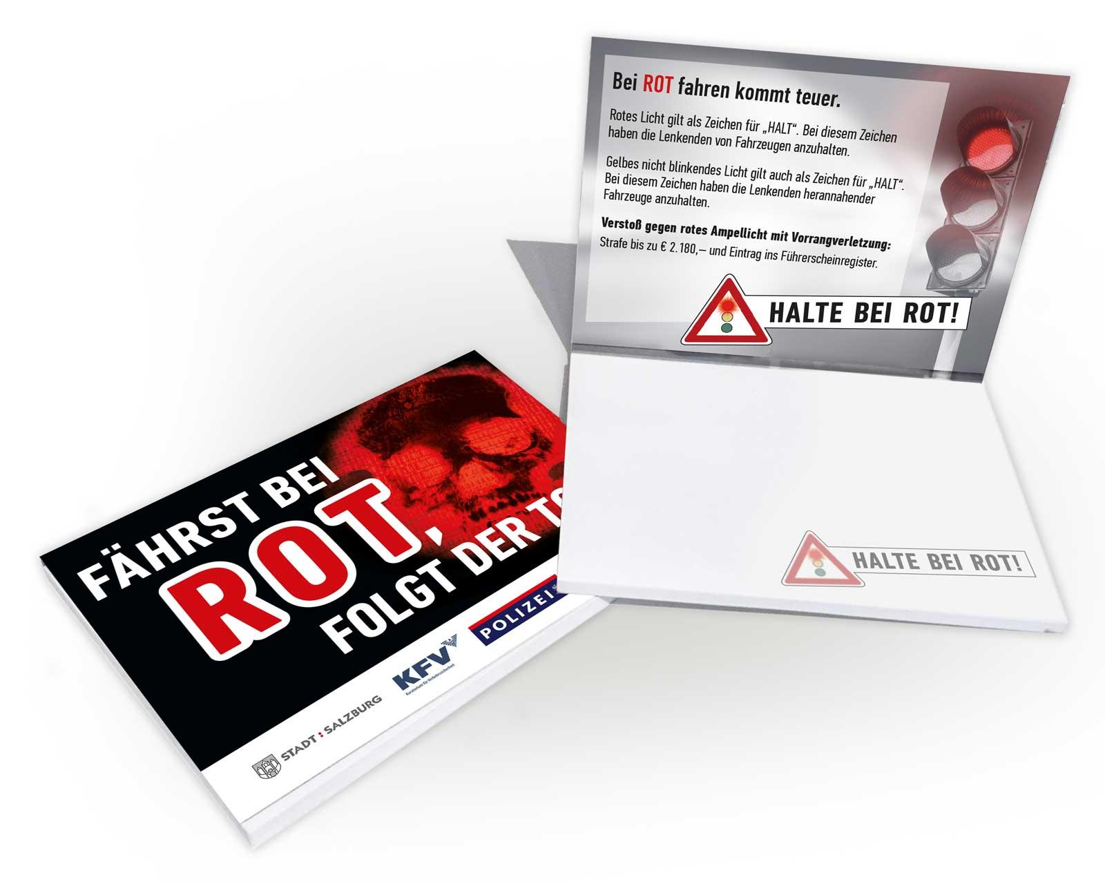 """Verkehrssicherheitskampagne des Landes Salzburg 2018: PostIt """"Halte bei Rot"""""""