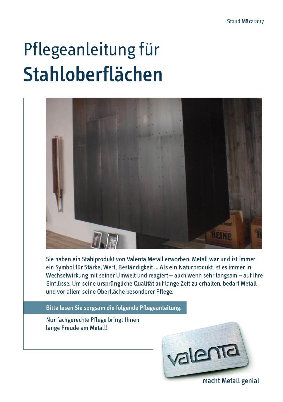 Valenta Metall Layout Pflegeanleitung für Stahloberflächen