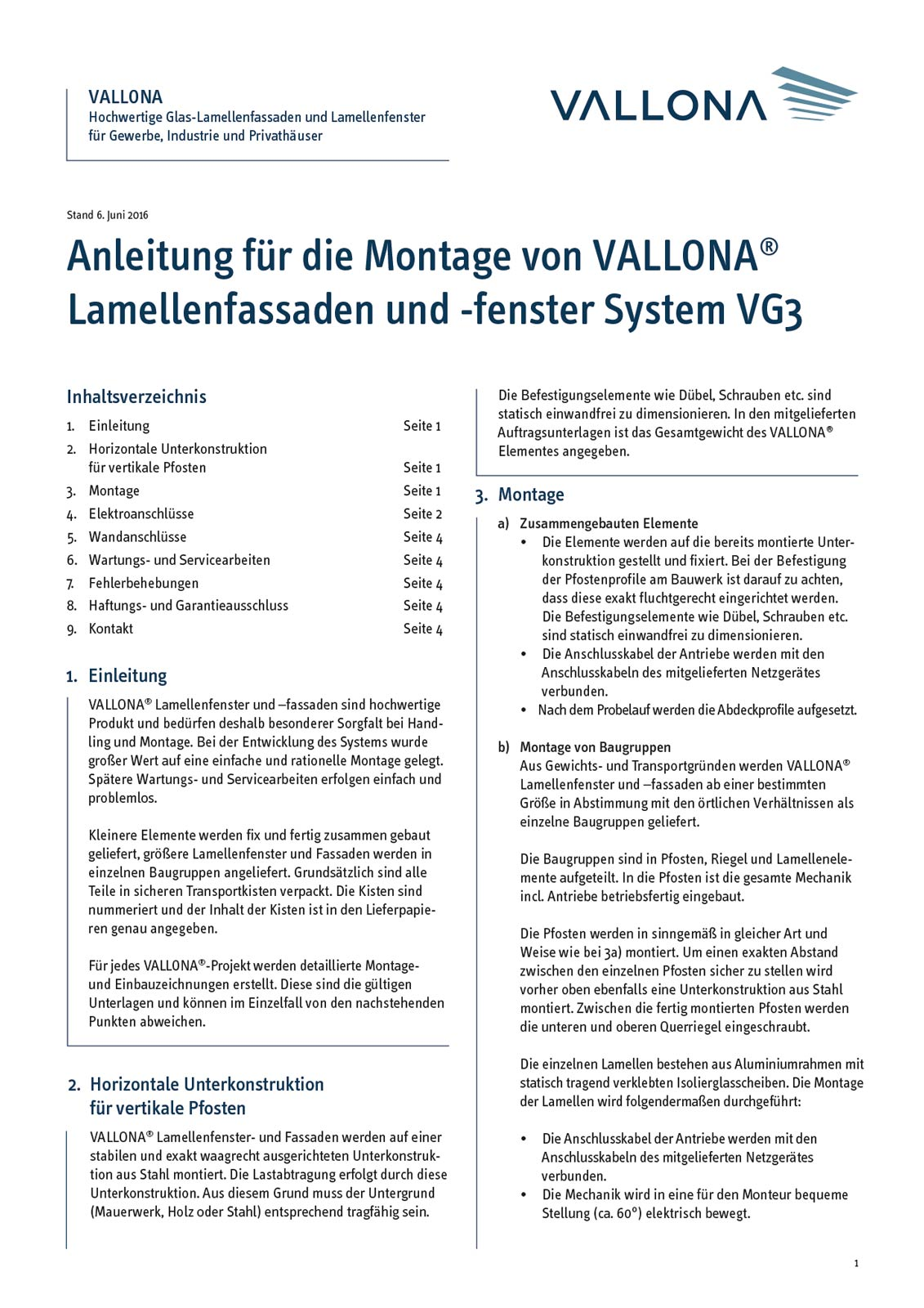 Vallona Metall GmbH - Layout Montageanleitung Vallona Lamellenfenster