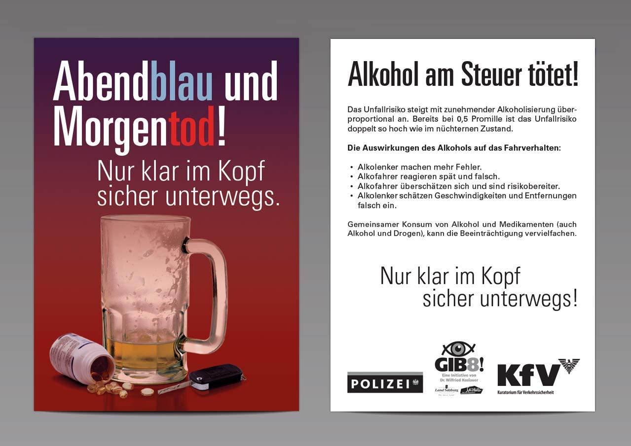 """Verkehrssicherheitskampagne des Landes Salzburg 2009: Infokarte """"Abendblau und Morgentod"""""""
