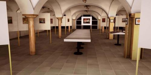 Elisabethbuehne Saeulenfoyer Ausstellung Eingang