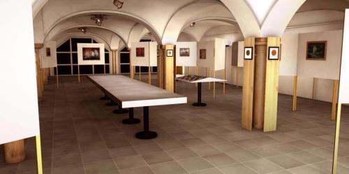 Elisabethbuehne Saeulenfoyer Ausstellung Eingang II