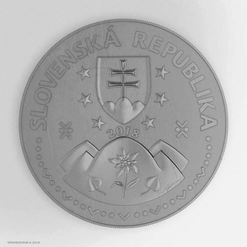 Münze zum 25. Jahrestag der Gründung der Slowakischen Republik, Avers