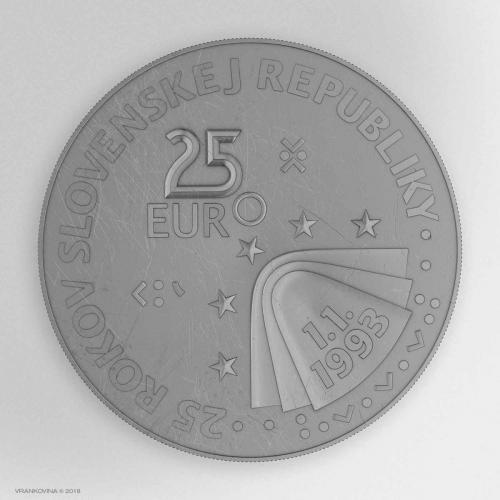 Münze zum 25. Jahrestag der Gründung der Slowakischen Republik, Revers