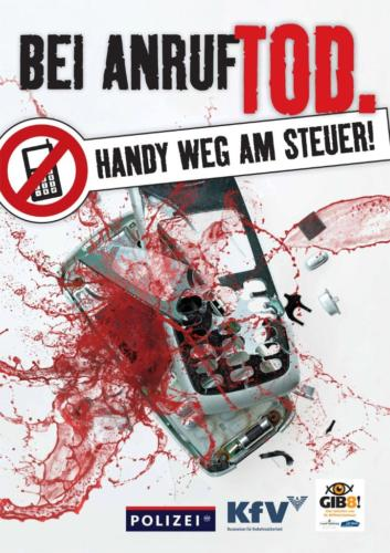 """Verkehrssicherheitskampagne der Landesregierung Salzburg 2011: Plakat """"Handy weg am Steuer"""""""