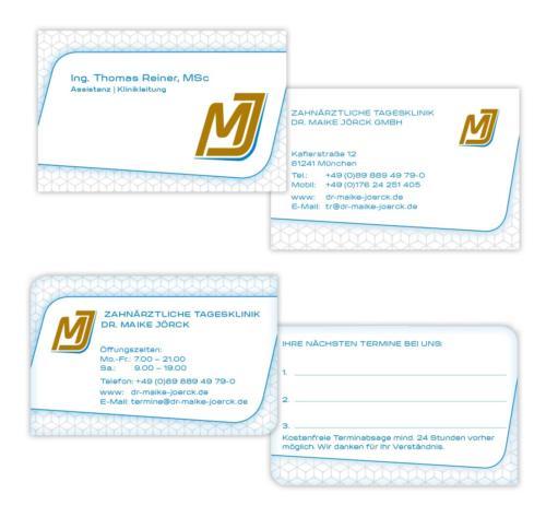 Zahnärztliche Tagesklinik Dr. Maike Jörck GmbH: Visiten- und Terminkarten