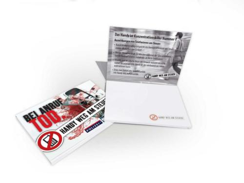 """PostIt Giveaway Verkehrskampagne 2011 des Landes Salzburg """"Handy weg am Steuer"""""""