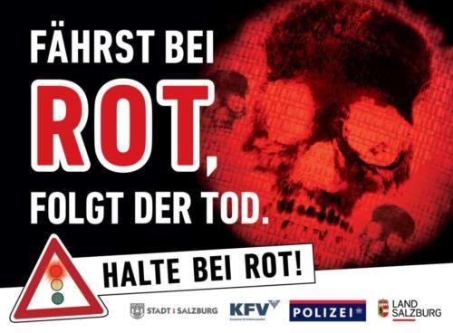 """Verkehrssicherheitskampagne des Landes Salzburg 2018: Rollingboard """"Halte bei Rot"""""""