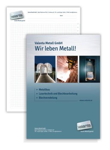 Valenta Metall GmbH - Layout Schreibblock