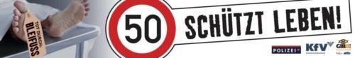 """Verkehrssicherheitskampagne des Landes Salzburg 2010: Banner """"50 schützt Leben"""""""
