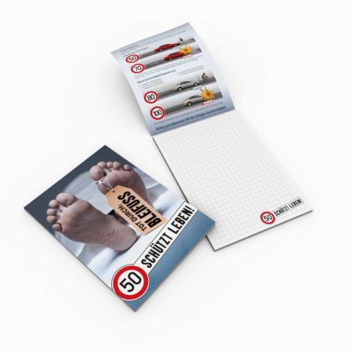 """Verkehrssicherheitskampagne des Landes Salzburg 2010: Notizblock """"50 schützt Leben"""""""