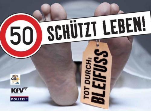 """Verkehrssicherheitskampagne des Landes Salzburg 2010: Rollingboard """"50 schützt Leben"""""""