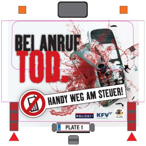 """Verkehrssicherheitskampagne der Landesregierung Salzburg 2011: Buskleber """"Handy weg am Steuer"""""""