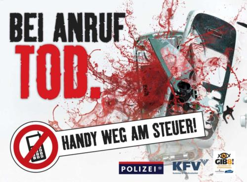 """Verkehrssicherheitskampagne der Landesregierung Salzburg 2011: Rollingboard """"Handy weg am Steuer"""""""